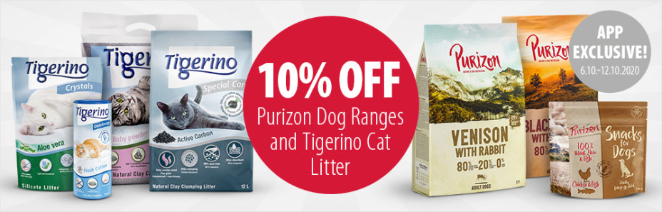 Save 10% on Purizon Dog Products and Tigerino - Only in the App!