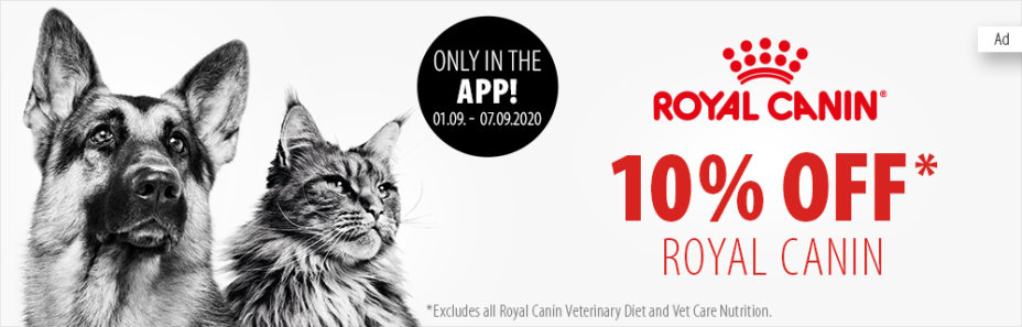 Get a 10% Off coupon for Royal Canin when you shop using the App!
