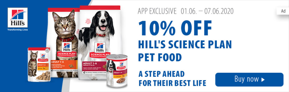 Get 10% off Hill's Science Plan pet food when you purchase via the zooplus app!