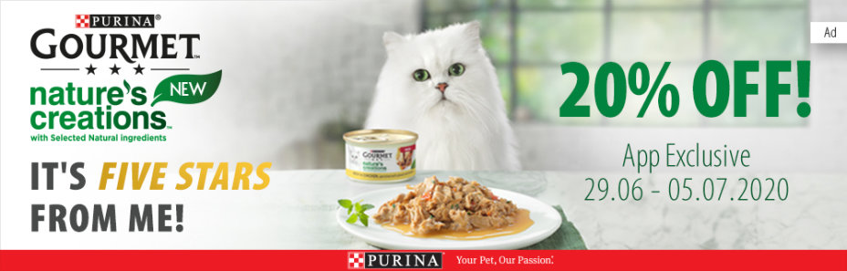Get 20% off Gourmet Nature's Creation cat food when you purchase via the zooplus app!
