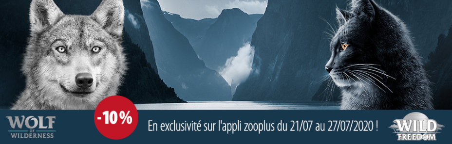 Wolf of Wilderness et Wild Freedom: - 10% en exclusivité sur l'appli zooplus du 21/07 au 27/07/2020 !