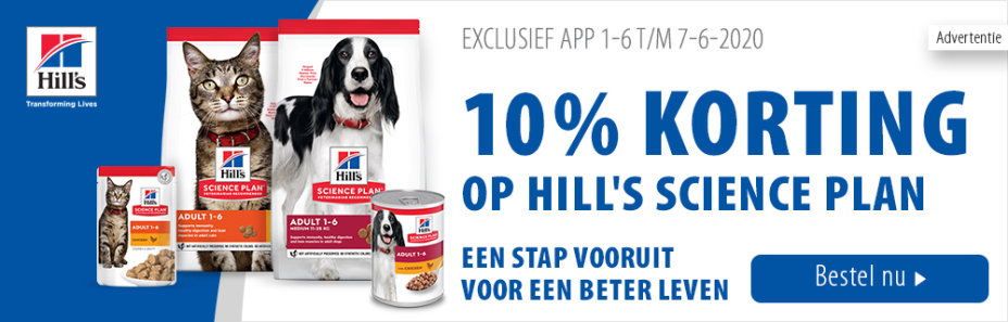 10% korting op Hill's Science Plan via de app!